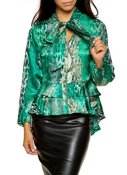 Snake Print Tie Neck Peplum Blouse - 3005074297172
