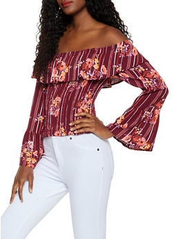 Smocked Floral Off the Shoulder Bell Sleeve Top - 3006015995319