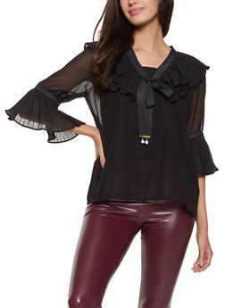 Pleated Detail Blouse - 3006038340619