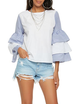 Tie Back Keyhole Tiered Sleeve Top - 3006038349625