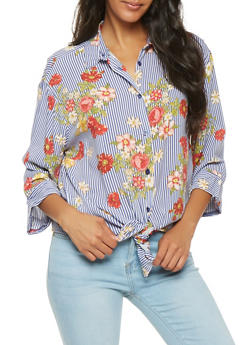 Striped Floral Button Front Tunic Top - 3006038349633