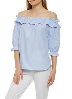 Striped Off the Shoulder Top - 3006038349643