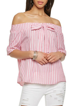 Striped Off the Shoulder Tie Front Top - 3006038349645