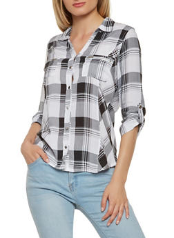 Plaid Button Front Shirt - 3006038349647