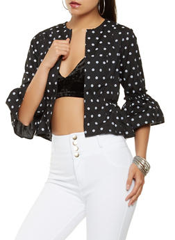 Open Front Printed Jacket - BLACK/WHITE - 3006038349658