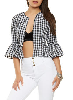 Open Front Printed Jacket - WHT-BLK - 3006038349658