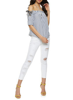 Striped Lace Up Off the Shoulder Top - 3006038349660