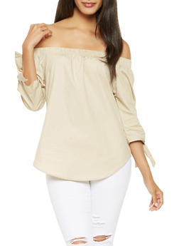Tie Sleeve Off the Shoulder Top - 3006054269745
