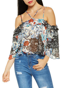 Printed Cold Shoulder Blouse - 3006058750110