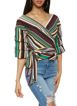 Striped Bubble Sleeve Wrap Top - 3006058750345