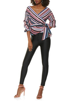 Striped Bubble Sleeve Wrap Top - 3006058750564