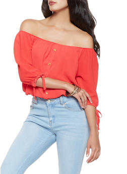 Tie Sleeve Off the Shoulder Top - 3006058751015