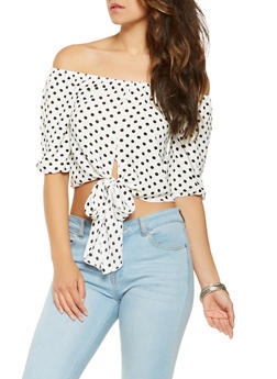 Polka Dot Off the Shoulder Top - 3006058751256