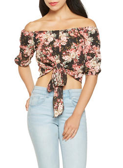 Floral Off the Shoulder Crop Top - 3006058751349