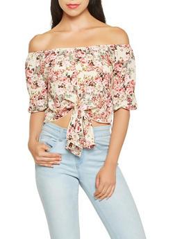 Floral Off the Shoulder Crop Top - 3006058751349