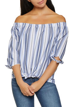 Striped Off the Shoulder Top - 3006058755816