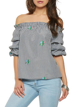 Gingham Embroidered Off the Shoulder Top - 3006058755818