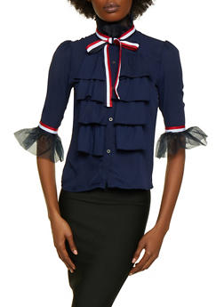Tie Neck Button Front Ruffled Shirt - 3006074290082