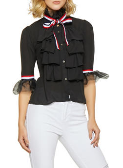 Ruffled Striped Tape Trim Shirt - 3006074292082