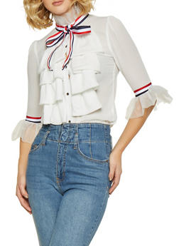 Ruffled Striped Tape Trim Shirt - 3006074292082