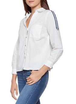 Striped Ribbon Trim Shirt - 3006074292090