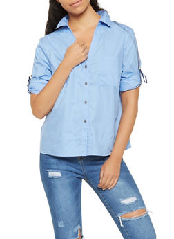 Striped Ribbon Trim Shirt - 3006074292090