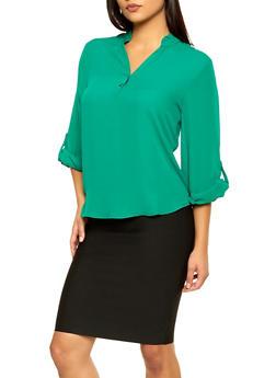Half Button Tab Sleeve Blouse - 3006074295447