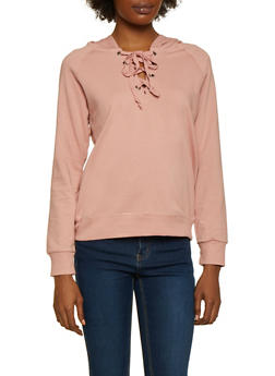 Lace Up French Terry Sweatshirt - 3012054260554