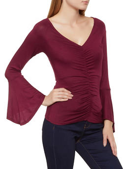Ruched Front Bell Sleeve Top - 3012054260671
