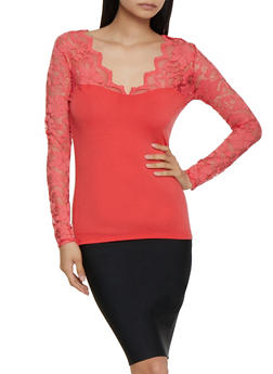 Long Sleeve Lace Top - 3012054265641