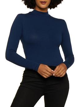 Long Sleeve Mock Neck Crop Top - 3012054268033