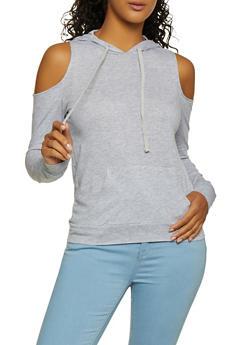 Cold Shoulder Hooded Top - 3012054269950