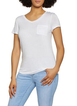 V Neck Solid Tee - 3012058750001