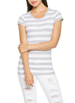 Striped Scoop Neck Tee - 3013054264501