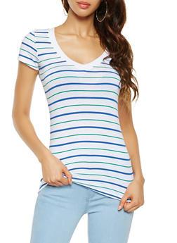 Striped V Neck Tee - 3013054264604