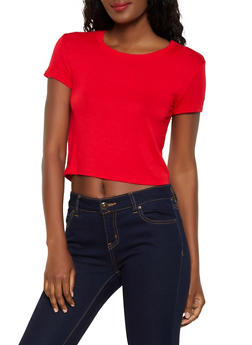 Solid Cropped Tee - 3013058750715