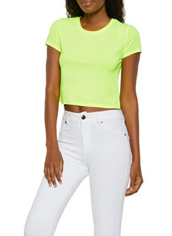 880356758c6 Solid Cropped Tee - 3013058750715