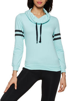 Funnel Neck Varsity Stripe Sweatshirt - 3014033871221