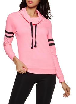 Funnel Neck Varsity Stripe Sweatshirt - NEON PINK - 3014033871221