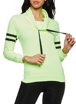 Funnel Neck Varsity Stripe Sweatshirt - 3014033871221
