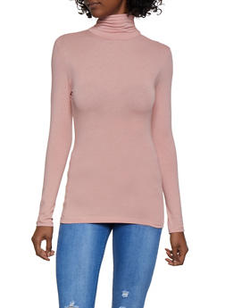 Long Sleeve Ruched Turtleneck Top - 3014054262257