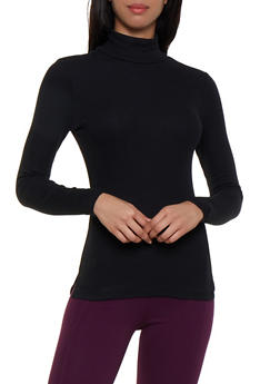 Ribbed Knit Turtleneck Top - 3014054263397