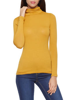 Ruched Turtleneck Top - 3014054265225
