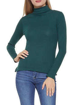 Basic Ribbed Knit Turtleneck Top - 3014054265933