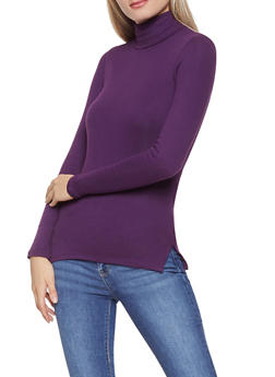 Basic Ribbed Knit Turtleneck Top - 3014054265933
