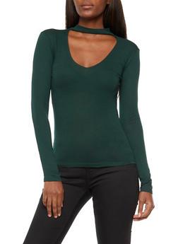 Long Sleeve Choker Neck Top - 3014054268774