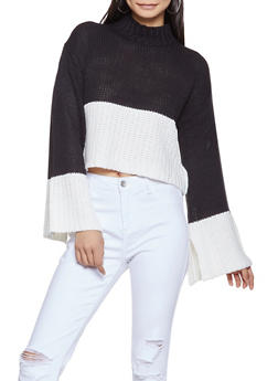 Color Block Cropped Sweater - 3020015050002