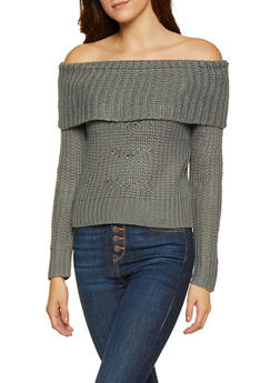Off the Shoulder Cable Knit Sweater - 3020015050013