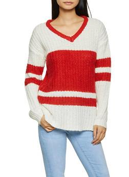 Striped Pointelle V Neck Sweater - 3020015050018