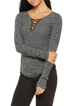 Ribbed Knit Lace Up Sweater - 3020015050022